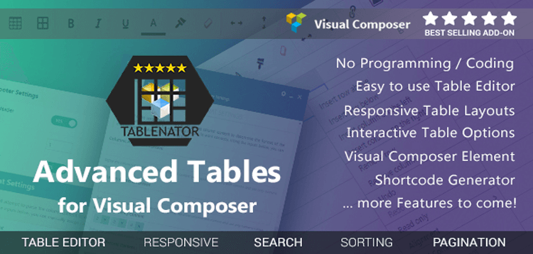 Item cover for download Tablenator - Advanced Tables for Visual Composer