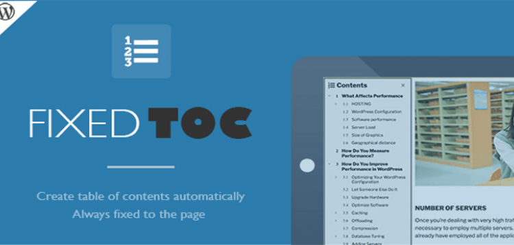 Item cover for download Fixed TOC - table of contents for WordPress plugin