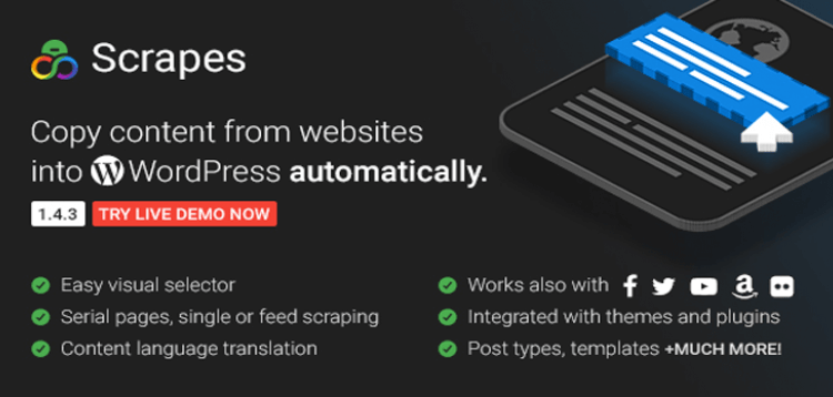 Item cover for download Scrapes - Automatic web content crawler and auto post plugin for WordPress
