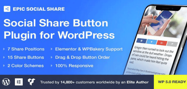 Item cover for download Epic Social Share Button for WordPress  Add Ons for Elementor  WPBakery Page Builder