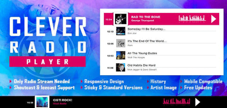 Item cover for download CLEVER - HTML5 Radio Player With History - Shoutcast and Icecast - WordPress Plugin