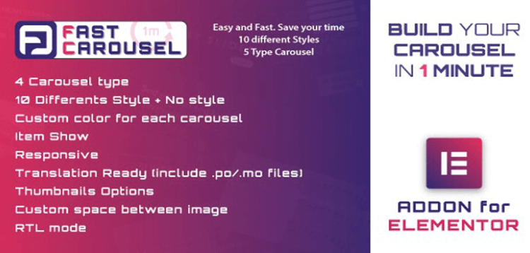 Item cover for download Fast Carousel for Elementor - WordPress Plugin