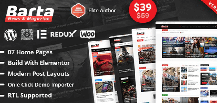 Item cover for download Barta - News  Magazine WordPress Theme