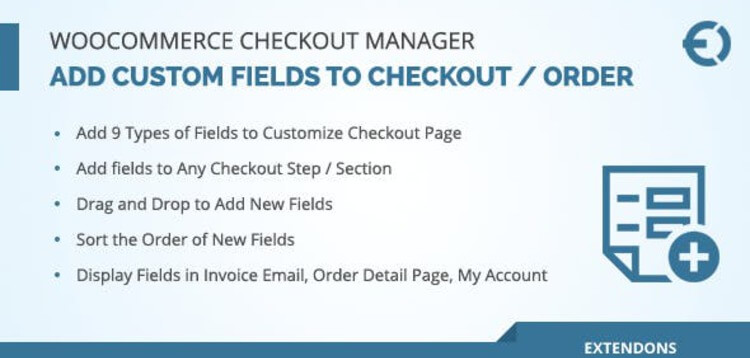 Item cover for download WOOCOMMERCE CHECKOUT FIELDS MANAGER, CUSTOM CHECKOUT FIELDS PLUGIN