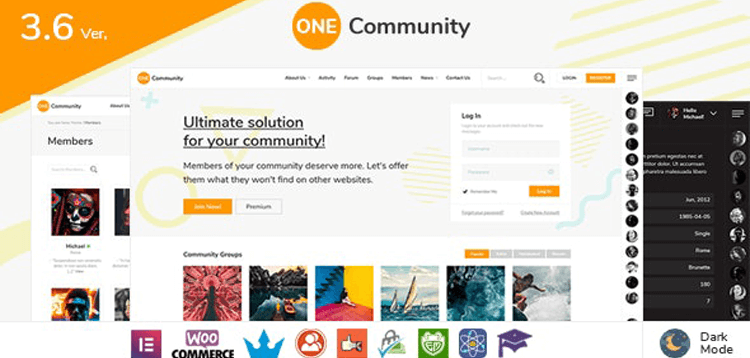 Item cover for download OneCommunity - BuddyPress Membership Theme