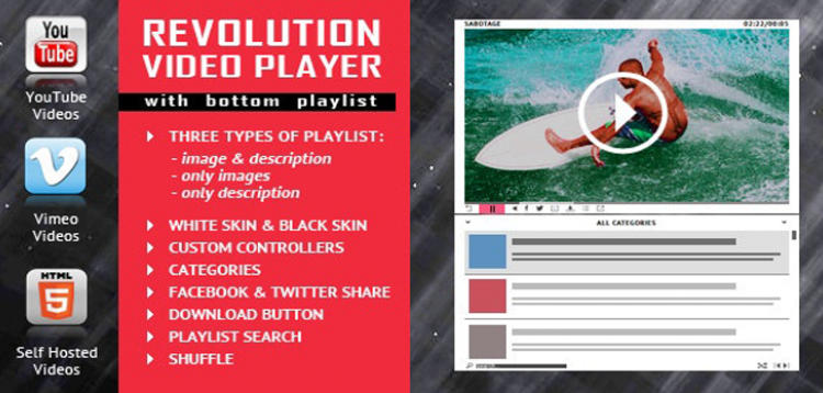 Item cover for download Revolution Video Player With Bottom Playlist - YouTube/Vimeo/Self-Hosted Support