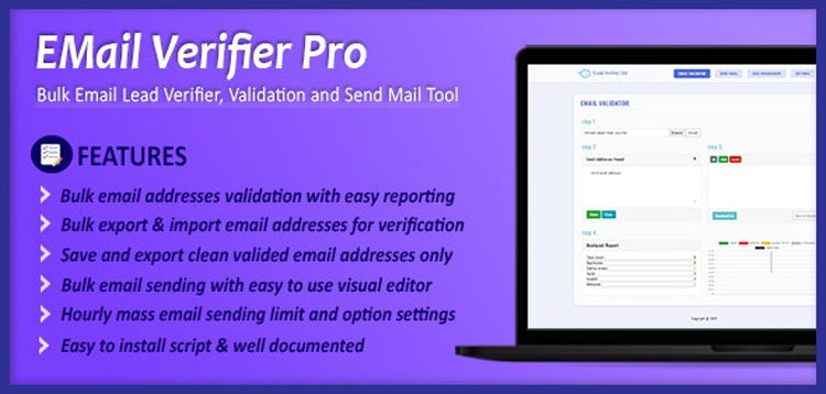 Item cover for download Email Verifier Pro - Bulk Email Addresses Validation, Mail Sender & Email Lead Management Tool